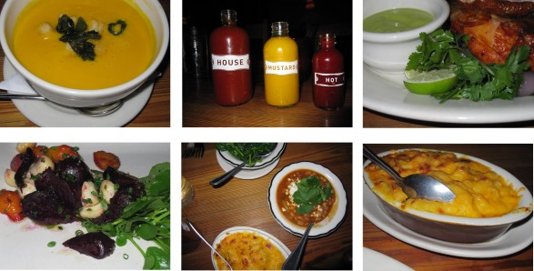 Clockwise (L to R): Carrot Soup, medly of flavorful house-made sauces served with every meal, Achiote Oak Smoked Chicken with cilantro dipping sauce, macaroni n' cheese (enough said), sides of baked beans, sauteed lemon spinach, mac n' cheese,