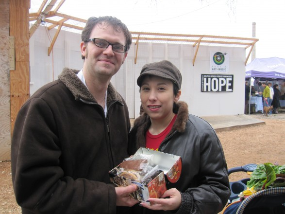 Creative Chefs Michael and Amanda Joyner present their candy bar and snack cake samples to me...in a Star Wars lunch box at the HOPE farmer's market!
