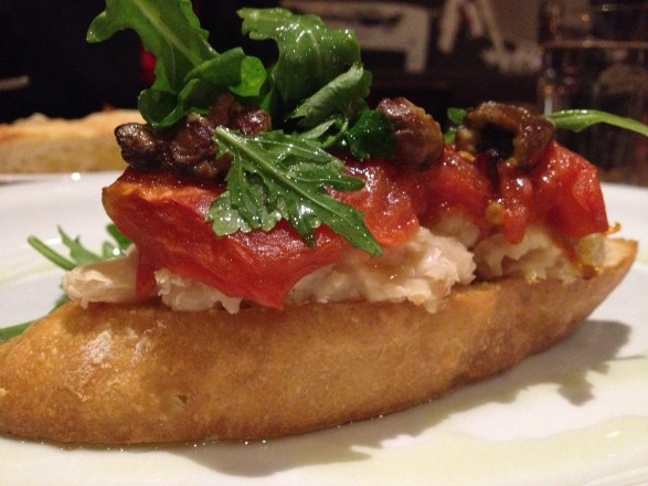 Oyster Bruschetta Appetizer at The Peasantry Chicago
