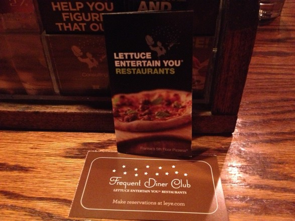 Lettuce Entertain You Restaurants Frequent Diner Club card