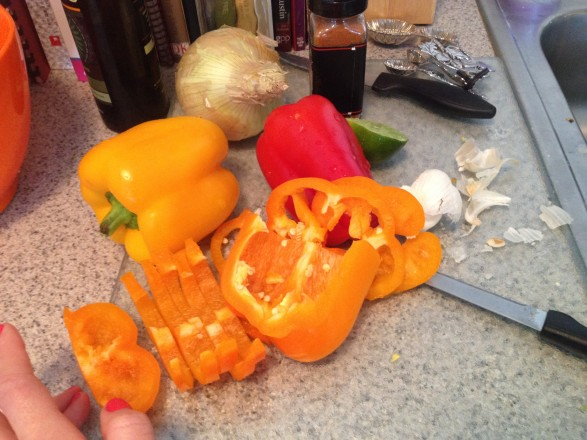 chopped up fresh bell peppers for homemade fajita recipe night